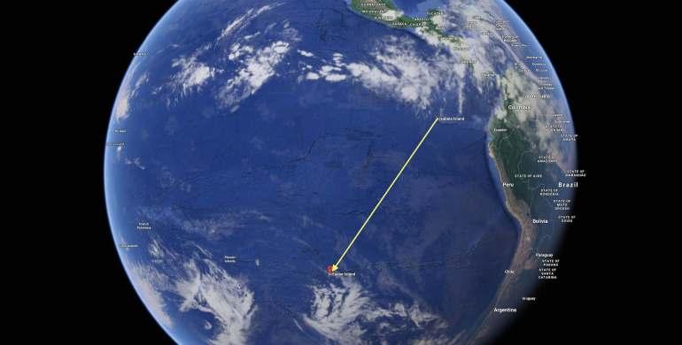 Sat2Isabela Island, Ecuador to easter island - Google Maps